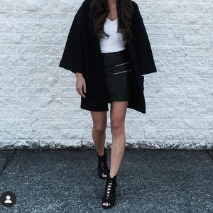Faux leather moto style skirt